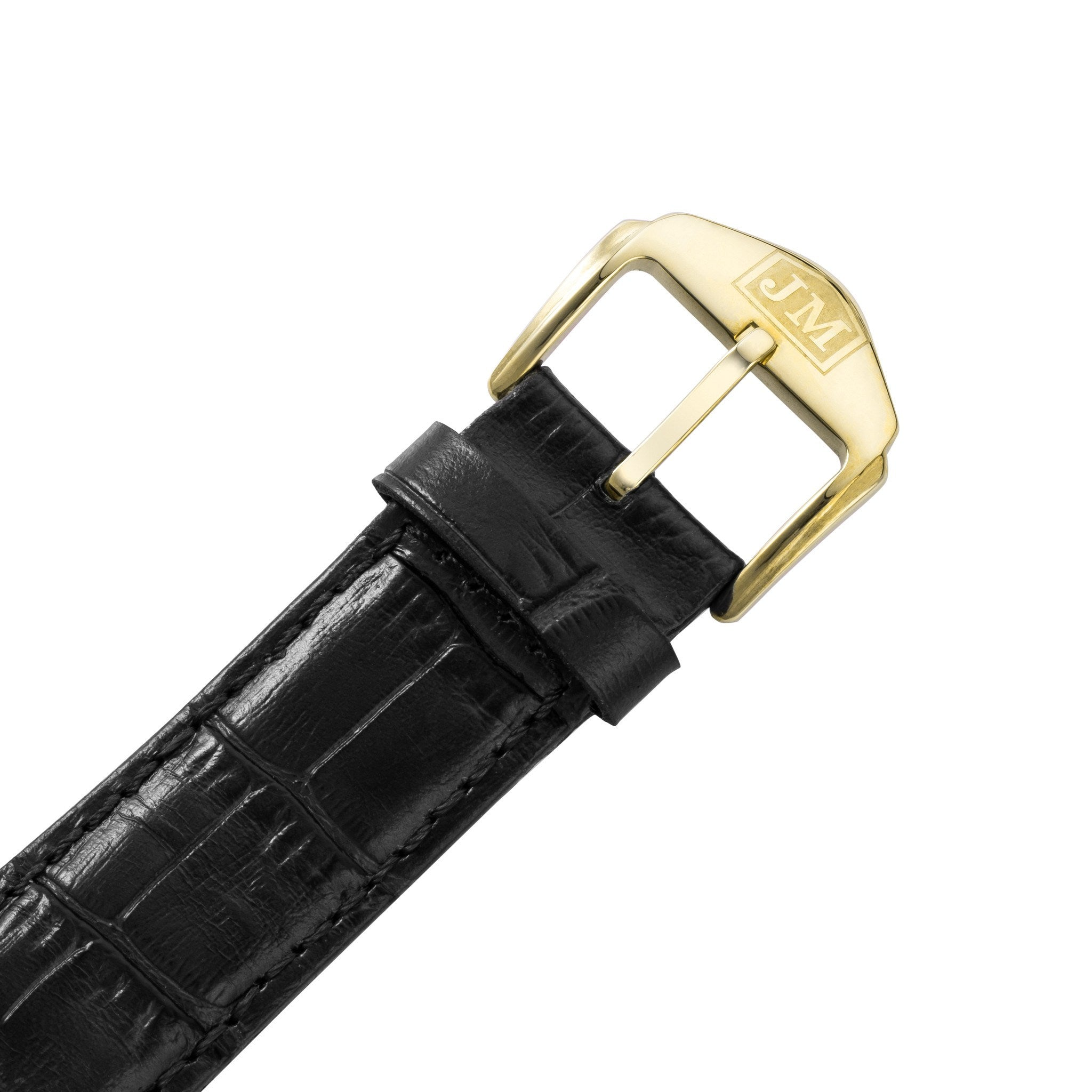 James McCabe Men's JM-1025-02 London Gold Automatic Watch with Black Leather Strap