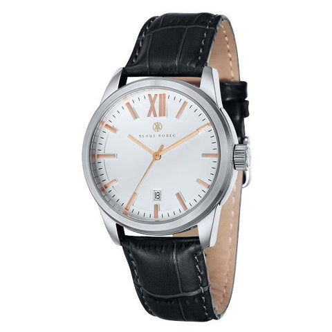 Klaus Kobec Men's Odyssey KK-20027-01 Quartz Watch with Black Genuine Leather Strap