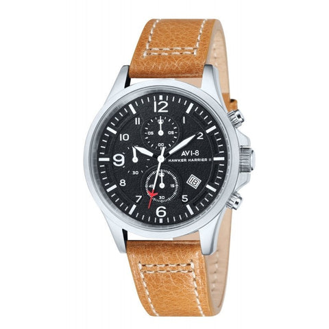AVI-8 Men's AV-4001-02 Hawker Harrier II Stainless Steel Chronograph Watch with Tan Genuine Leather Strap