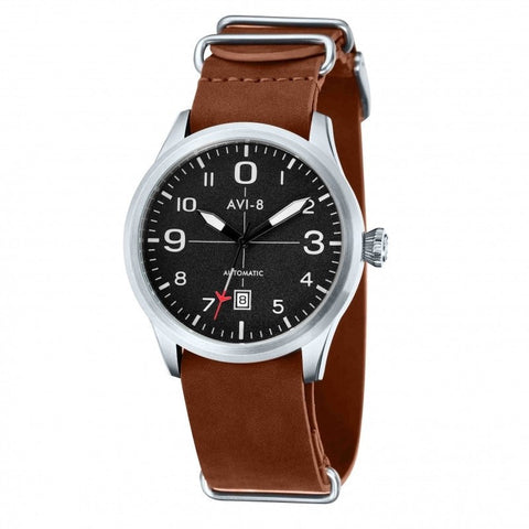 AVI-8 Men's AV-4021-01 Flyboy Stainless Steel Automatic Watch with Tan Genuine Leather NATO Strap