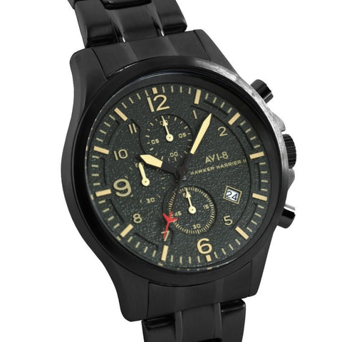AVI-8 Men's AV-4001-15 Hawker Harrier II Black Chronograph Watch with Stainless Steel Cap Bracelet