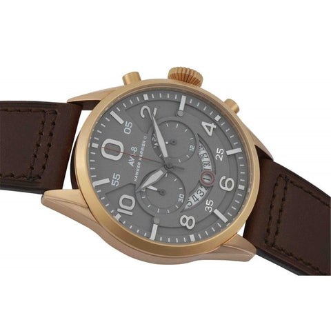 AVI-8 AVI-8 Hawker Harrier II Men's IP Rose Gold Quartz Chronograph Watch with Brown Leather Hand Stitched Strap AV-4031-05