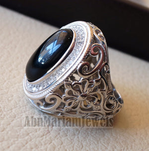aqeeq natural agate onyx elongated oval black gem man heavy ring sterling silver antique cubic zircon entourage ornate style fast shipping