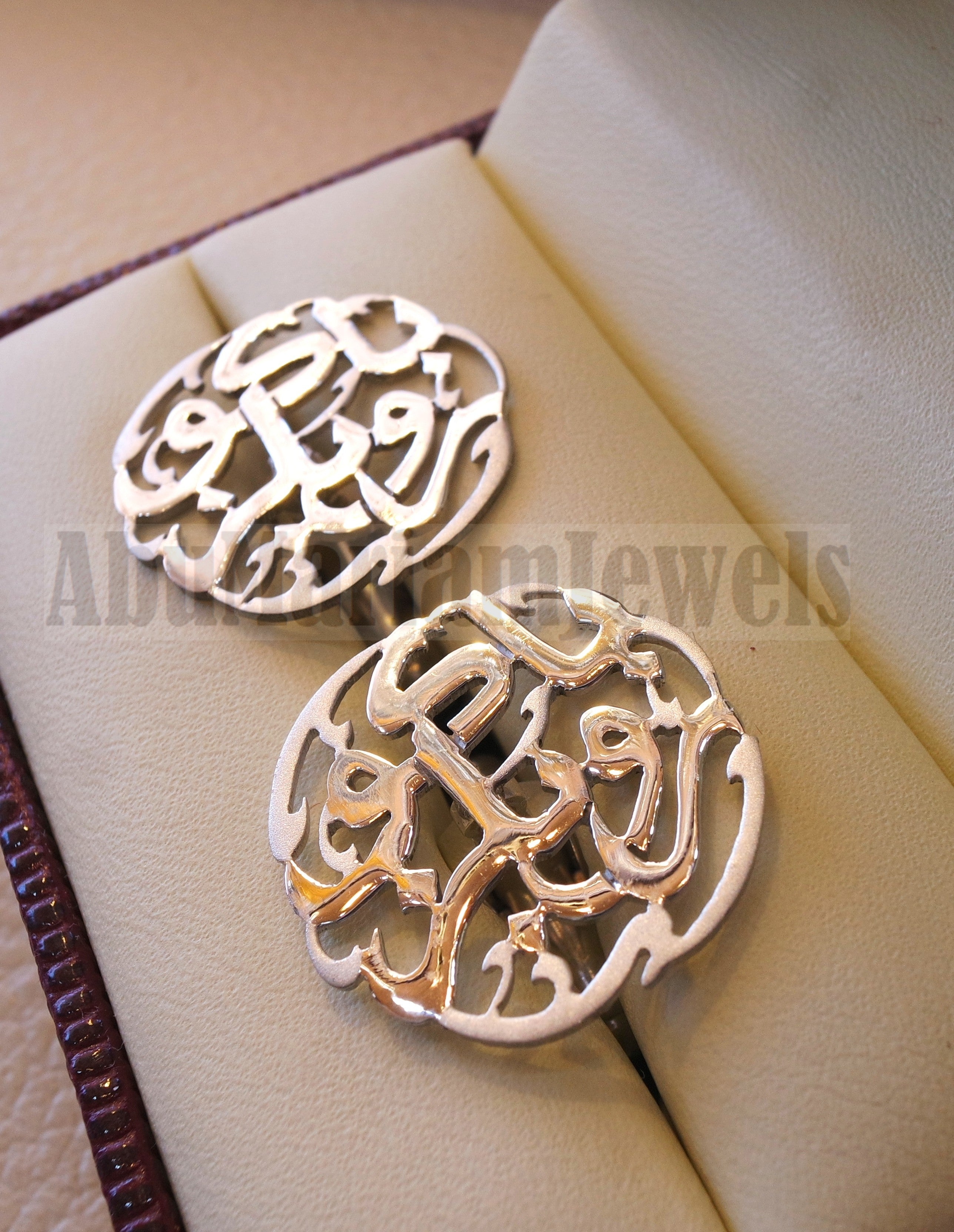 Cufflinks , cuflinks name of two words each calligraphy arabic customized any name made to order sterling silver 925 heavy men jewelry CF11