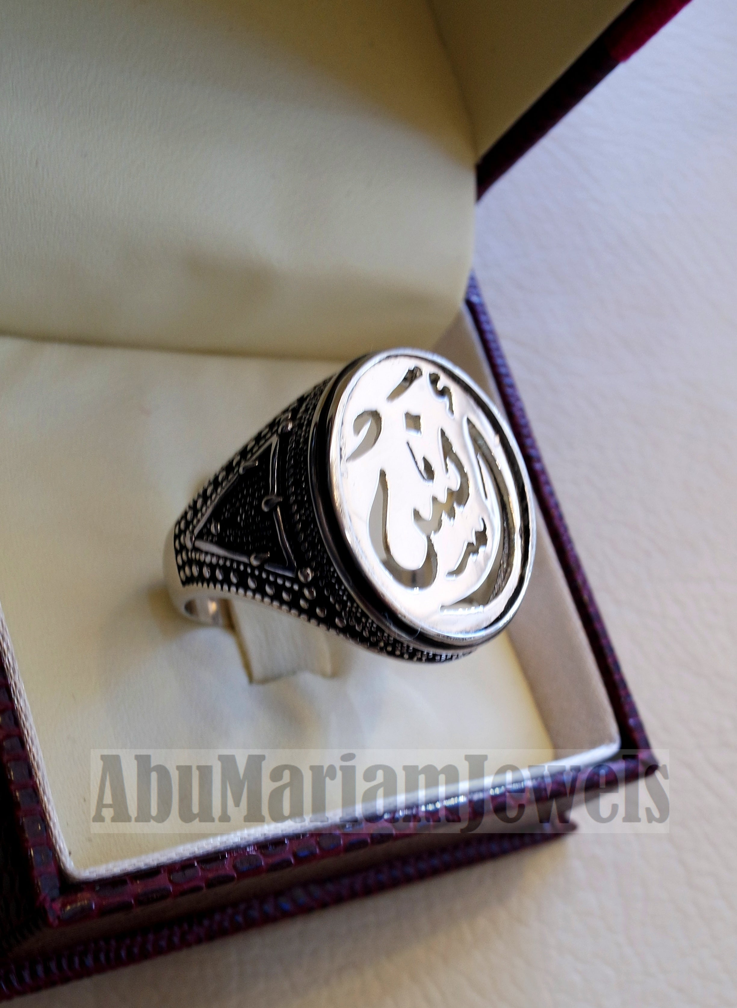 Customized Arabic calligraphy names handmade ring personalized antique jewelry style sterling silver 925 any size TSN1011 خاتم اسم تفصيل