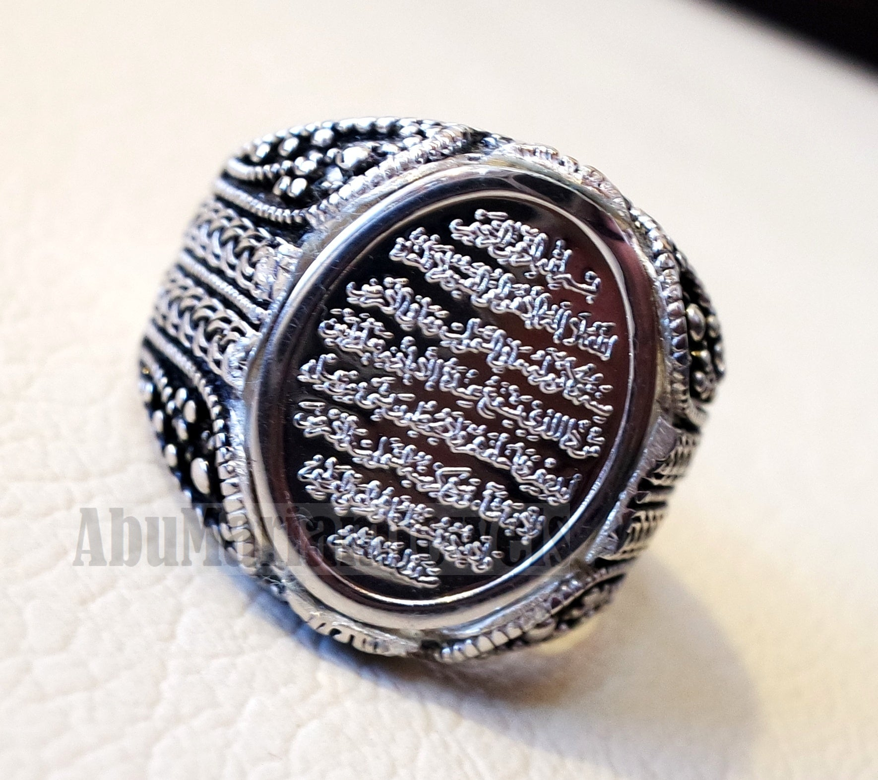 men ring Ayet Kursi Arabic islamic quraan verses sterling silver 925 any size jewelry heavy man gift خاتم أية كرسي