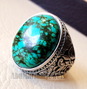 man ring nishapur tibet turquoise blue natural high quality stone sterling silver 925 all semi precious gem detailed design style