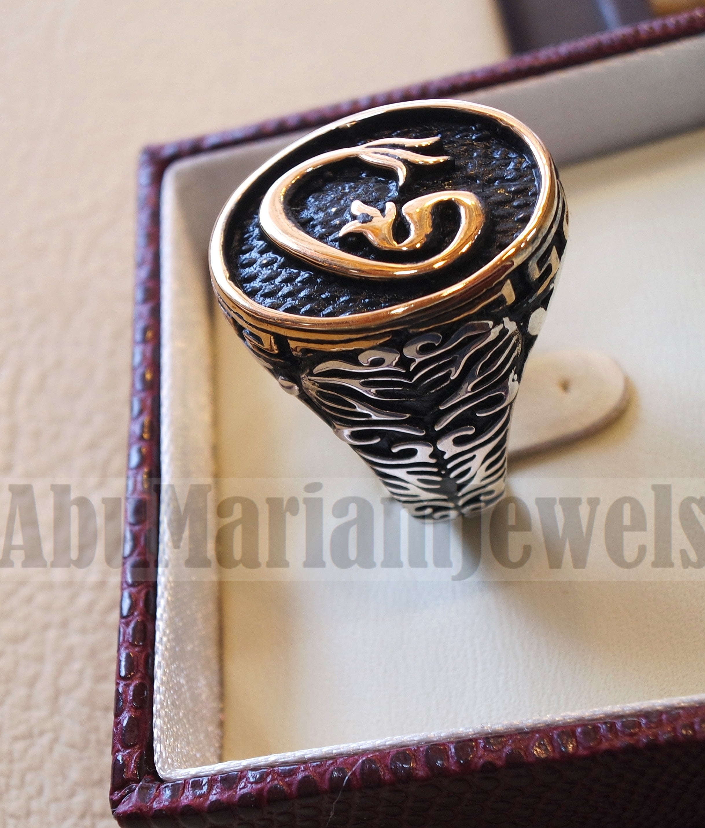 Arabic abjad waw vav heavy men ring sterling silver 925 bronze face ottoman turkish islam jewelry all sizes fast shipping