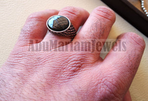 flat black onyx agate aqeeq stone arabic ottoman style man ring all sizes sterling silver 925 oval gem shape antique jewelry