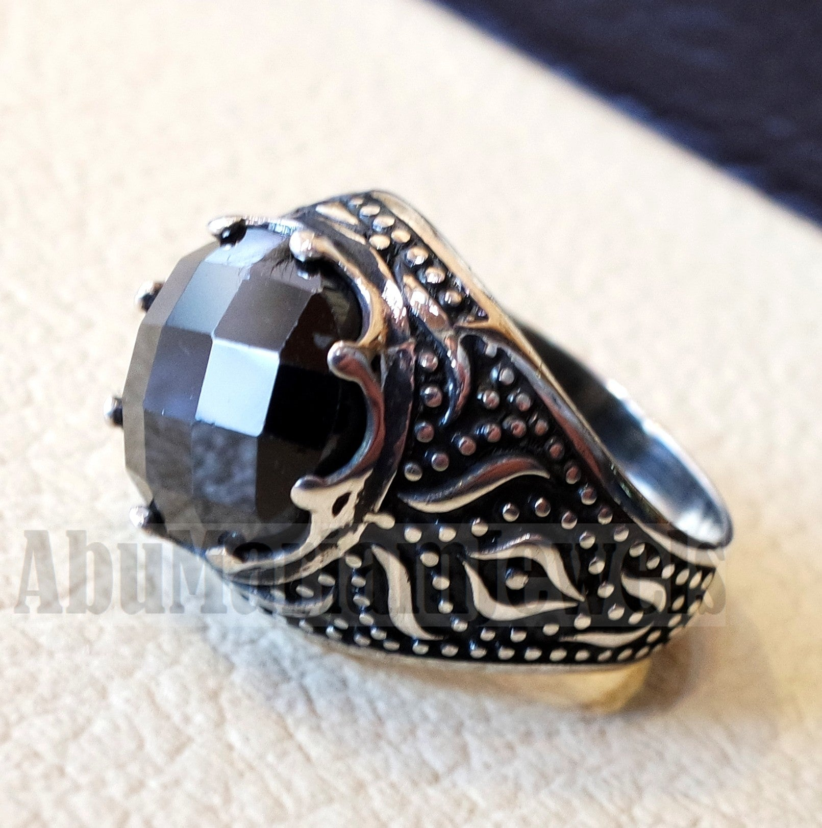 onyx round man ring sterling silver 925 black faceted stone cabochon all sizes middle eastern Arabic Turkish antique style jewelry