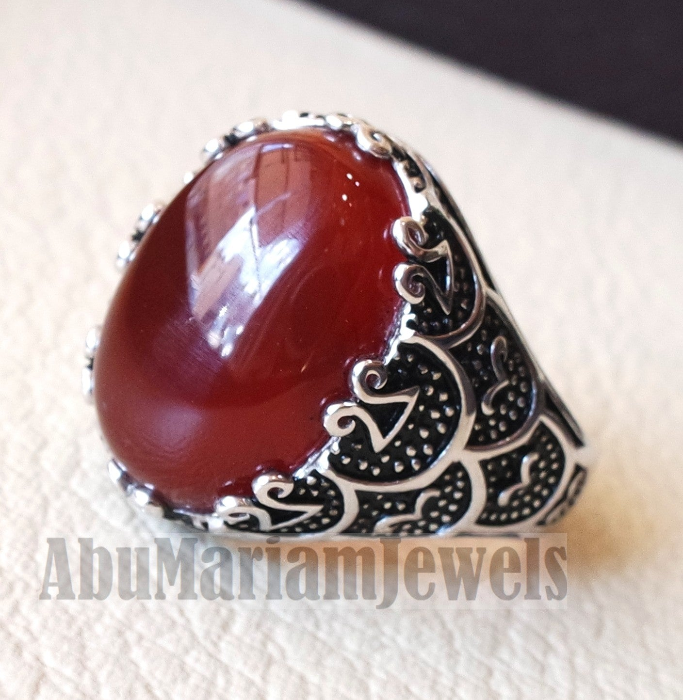 aqeeq natural liver agate carnelian  stone oval red cabochon gem man ring sterling silver arabic middle eastern turkey style