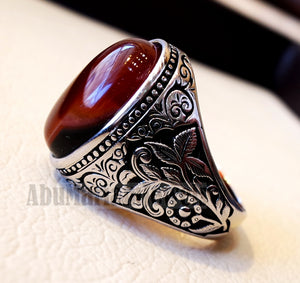 Striped aqeeq natural liver agate carnelian stone oval red cabochon gem man ring sterling silver arabic middle eastern turkey style