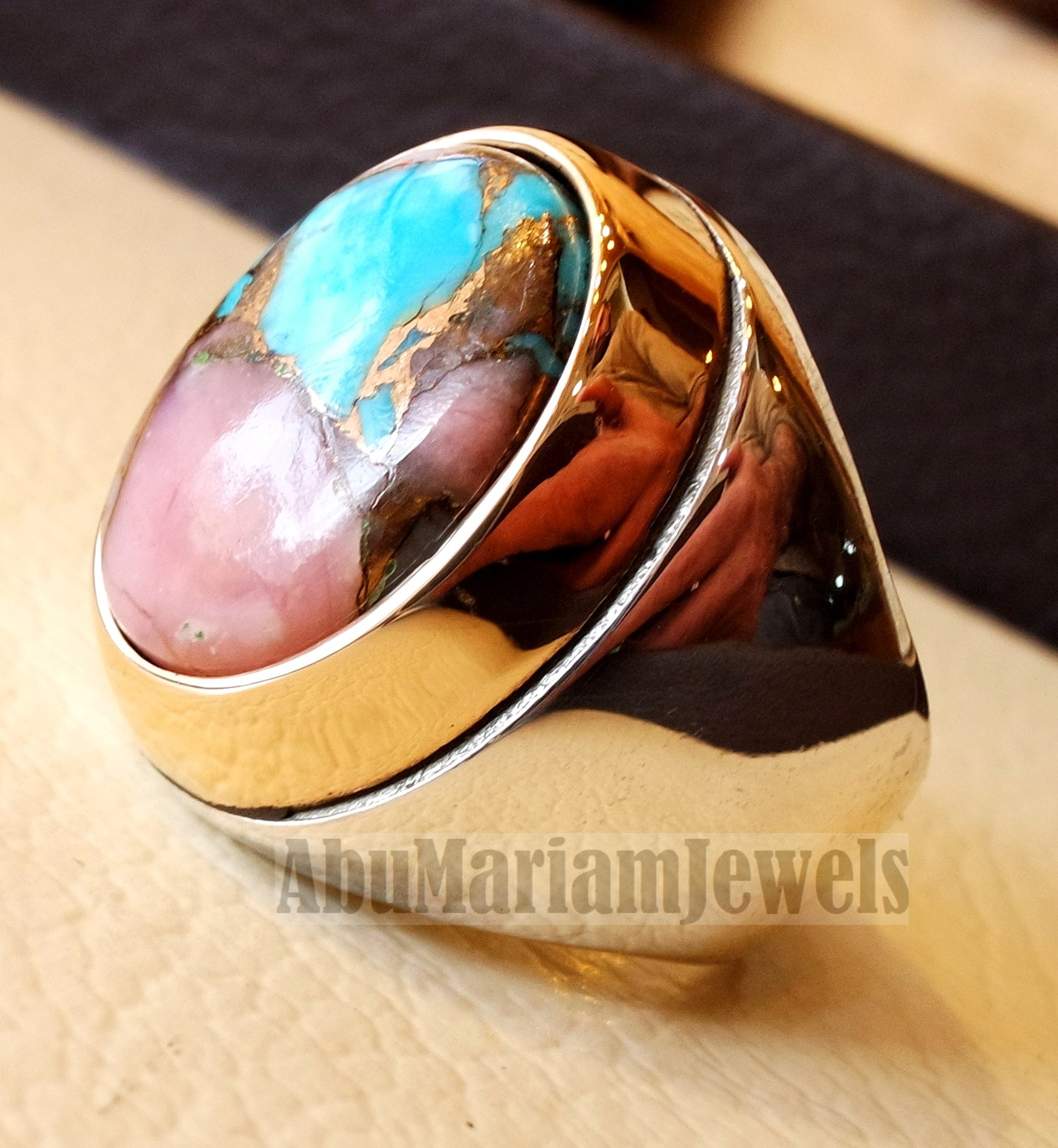 Copper pink Opal Turquoise blue natural stone ring sterling silver 925 bronze frame men jewelry all sizes gem middle eastern style