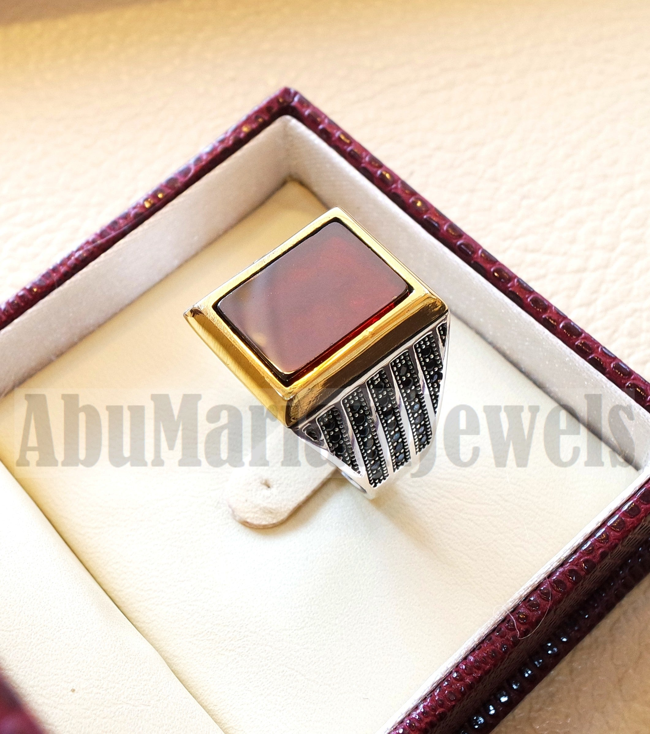 Men ring rectangular silver aqeeq flat natural semi precious agate carnelian gemstone  sterling silver 925 and bronze jewelry all sizes fast shipping black cubic zircon on sides
