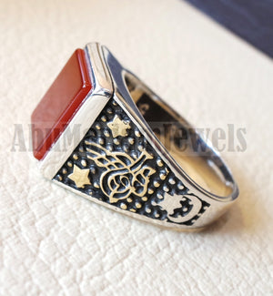Rectangular silver aqeeq flat natural semi precious agate carnelian gemstone men ring sterling silver 925 and bronze jewelry all sizes
