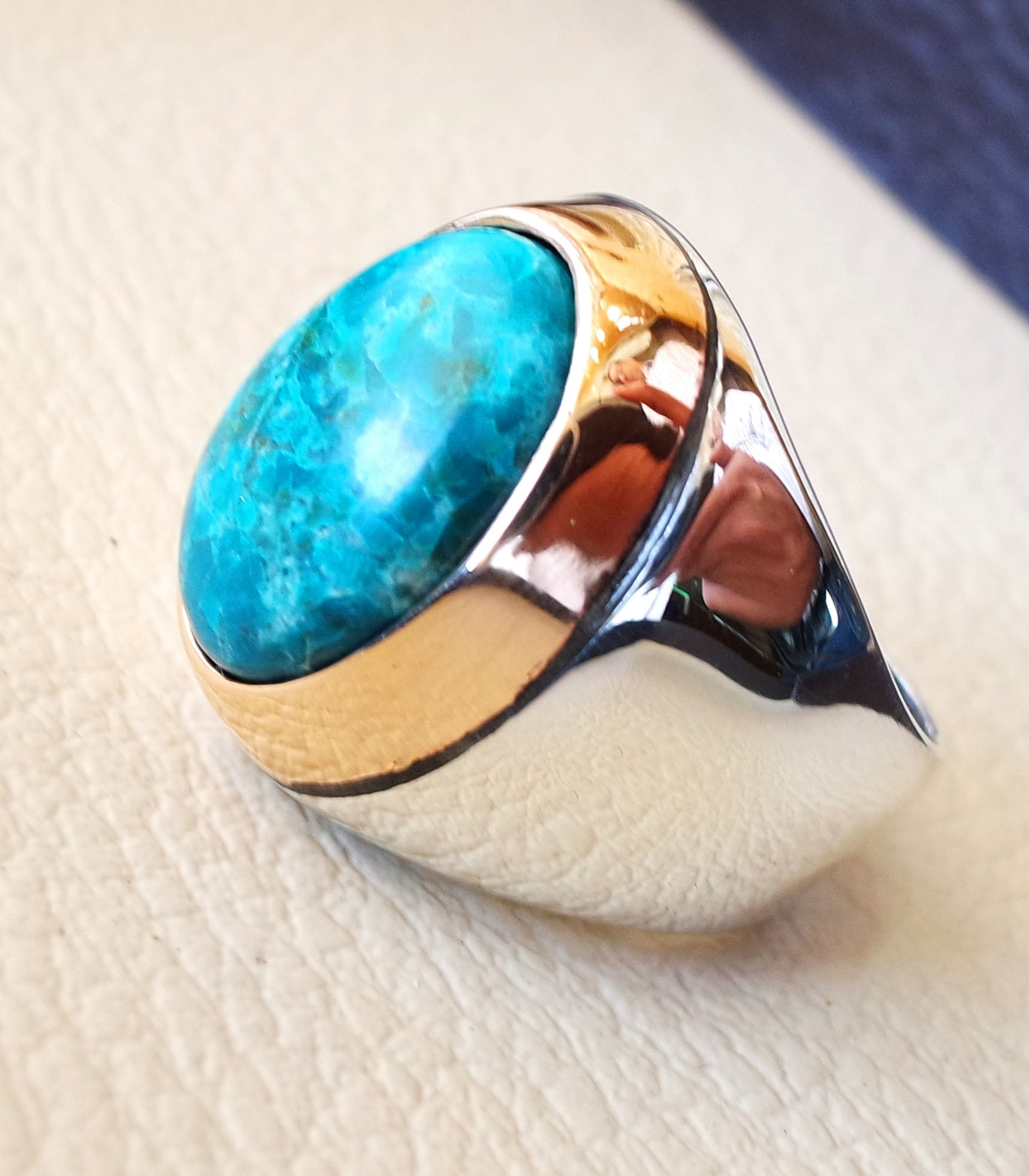 man ring chryscolla natural stone sterling silver 925 and bronze oval cabochon semi precious blue gem ottoman arabic style all sizes jewelry