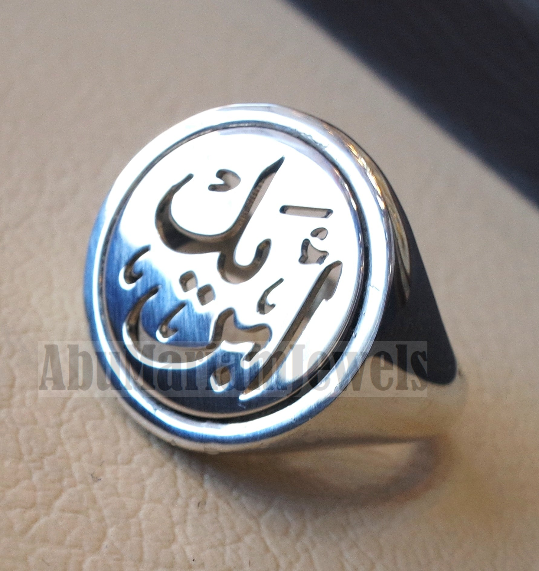 Customized Arabic calligraphy names handmade round heavy ring personalized jewelry sterling silver 925 any size AMM1002 خاتم اسم تفصيل