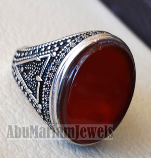 aqeeq natural agate huge big stone oval red flat gem man ring sterling silver arabic middle eastern turkey style fast shipping