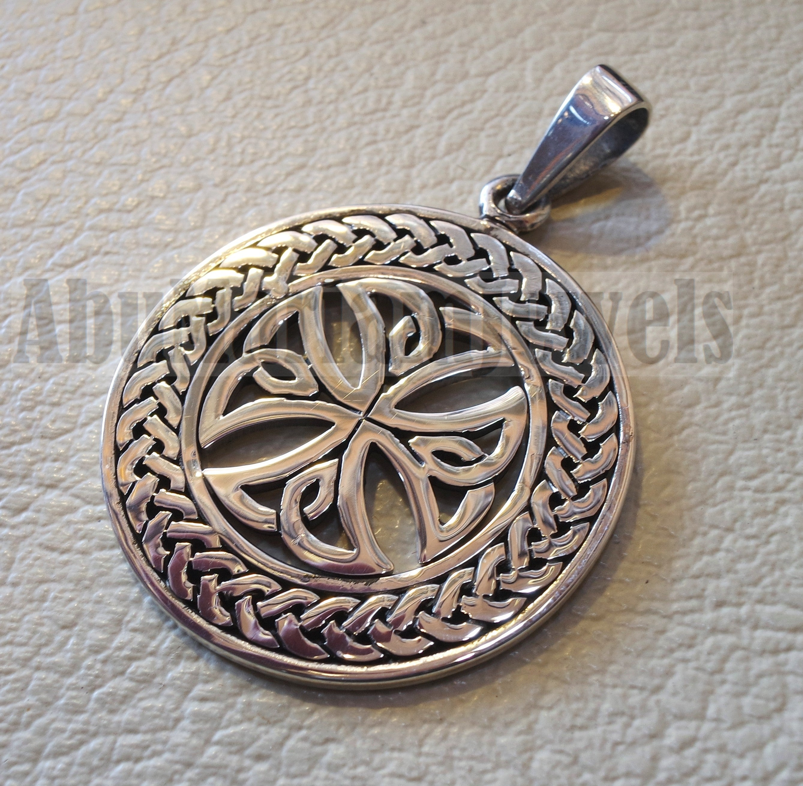 Celtic round cross pendant sterling silver 925 jewelry christianity vintage handmade heavy express shipping Christ religion