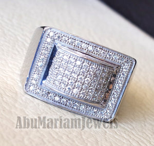 Micro pave cubic zirconia white stones diamond style sterling silver 925 heavy stunning men ring all sizes .