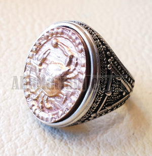 Horoscopes zodiac sign cancer sterling silver 925 and antique bronze huge men ring all sizes men jewelry gift that bring luck fast shipping