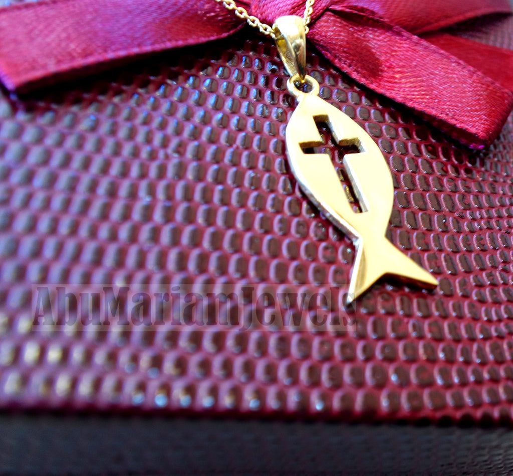 18K gold Icthys jesus pendant with chain 18K gold jewelry christianity fish bible and cross biblical necklace handmade express shipping