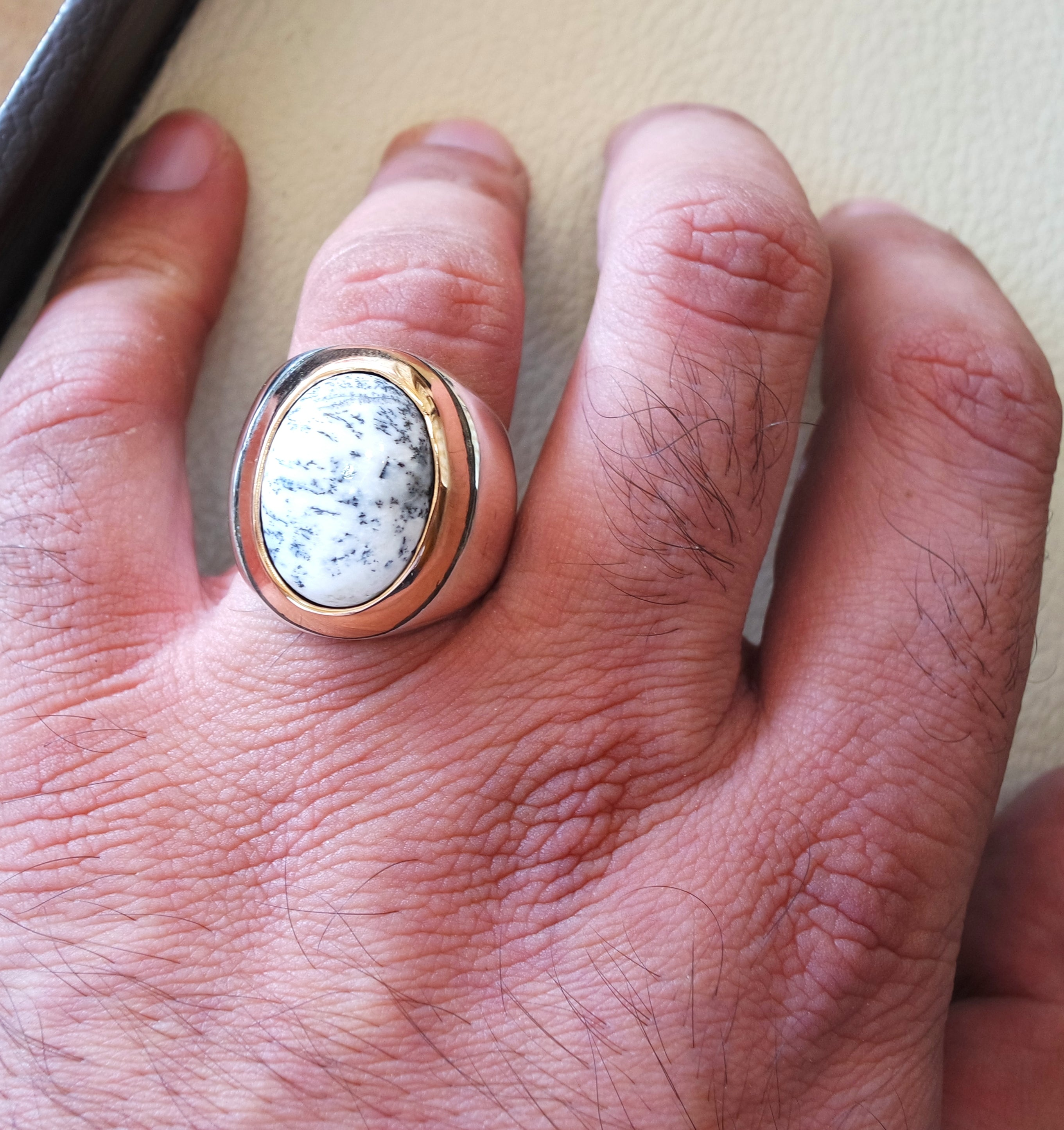 Men ring Dendritic opal agate natural stone sterling silver 925 and bronze ottoman turkey middle eastern antique style any size