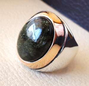Gold sheen obsidian black aqeeq heavy men ring natural stone sterling silver 925 and bronze vintage turkish style all sizes fast shipping