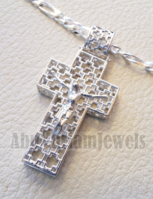 Cross necklace with thick chain sterling silver 925 jewelry Christianity 3d design man women religious gift express shipping