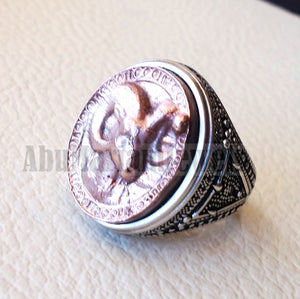 Horoscopes zodiac sign Aries sterling silver 925 and antique bronze huge  men ring all sizes men jewelry gift that bring luck fast shipping