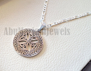 Celtic round cross with thick chain pendant sterling silver 925 jewelry christianity vintage handmade heavy express shipping Christ religion