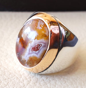 Agua nevada aqeeq sulymani natural stone sterling silver 925 and bronze man ring ottoman middle eastern antique style any size عقيق سليماني