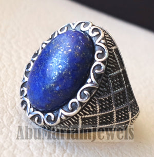 lapis lazuli natural semi precious blue stone man sterling silver 925 ring gemstone oval gem jewelry all sizes ottoman style