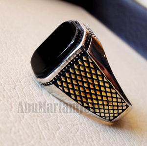 cushion rectangular octagon black onyx agate aqeeq man ring sterling silver 925 and 14k gold plating natural stone gem all sizes jewelry