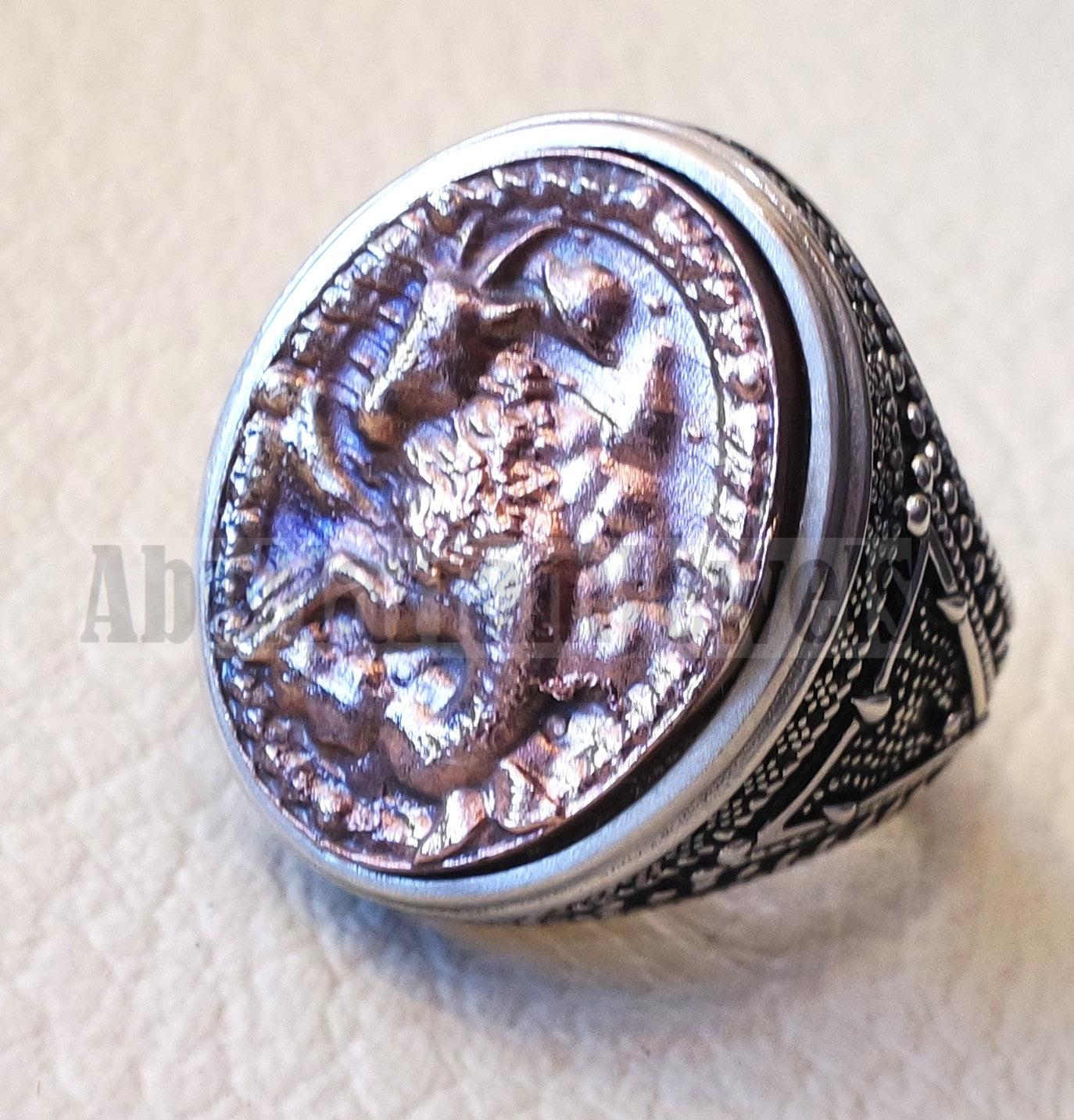 Horoscopes zodiac sign Capricorn  sterling silver 925 and antique bronze huge men ring all sizes men jewelry gift that bring luck fast shipping