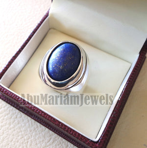 lapis lazuli oval cabochon natural blue stone heavy ring sterling silver 925 men jewelry all sizes 18 * 13 mm ottoman middle eastern
