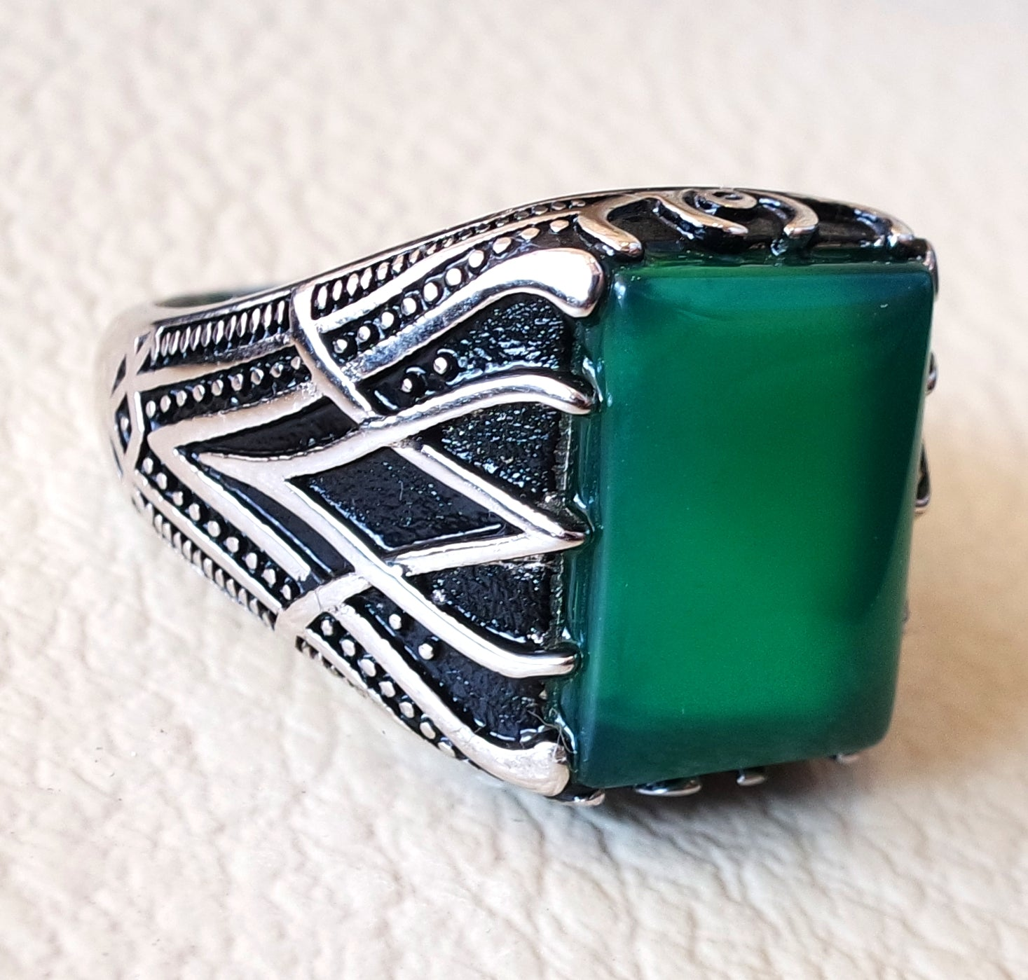 ottoman green onyx agate aqeeq sterling silver 925 antique men ring arabic jewelry any size fast shipping natural rectangular stone
