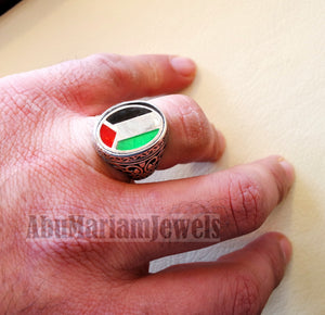 Palestine flag man ring sterling silver and color enamel arabic middle eastern turkey oriental antique style fast shipping all sizes