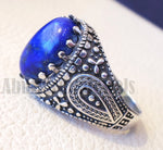 man ring lapis lazuli oval cabochon natural dark blue stone sterling silver 925 men jewelry all sizes 16 * 12 mm antique middle eastern