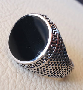 black onyx enamel round man ring sterling silver 925 jewelry all sizes ottoman turkish vintage style fast shipping