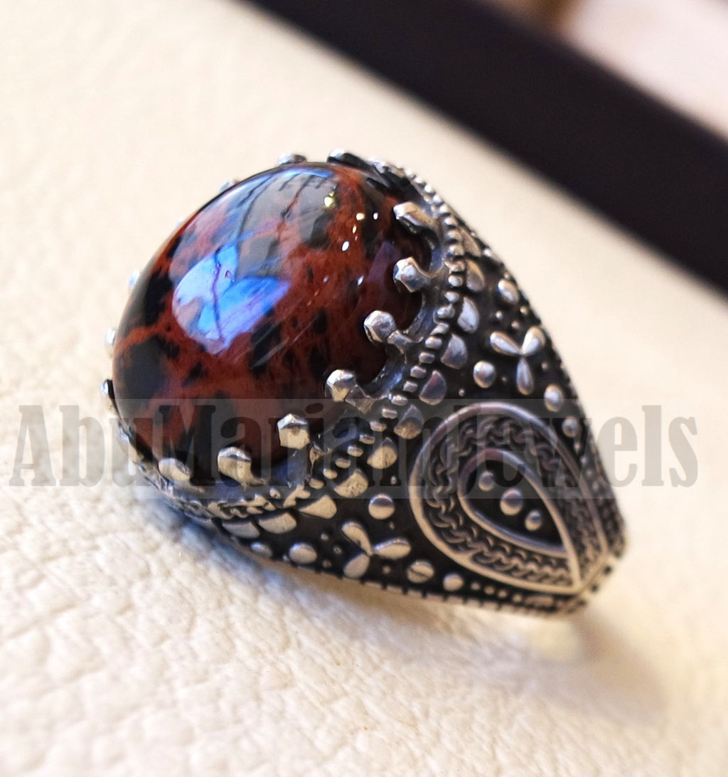 mahagony obsidian man ring stone natural gem sterling silver 925 ring brown and black oval semi precious cabochon jewelry protective stone