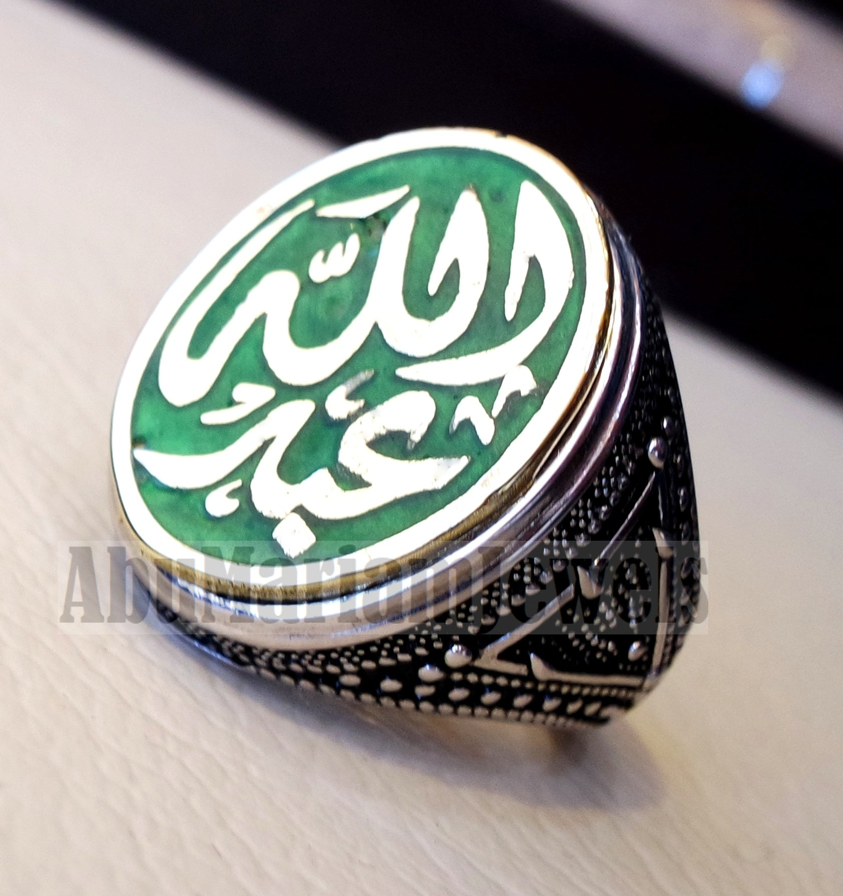 Customized Arabic calligraphy names ring personalized sterling silver 925 and bronze with green enamel TSE1002 خاتم اسم تفصيل