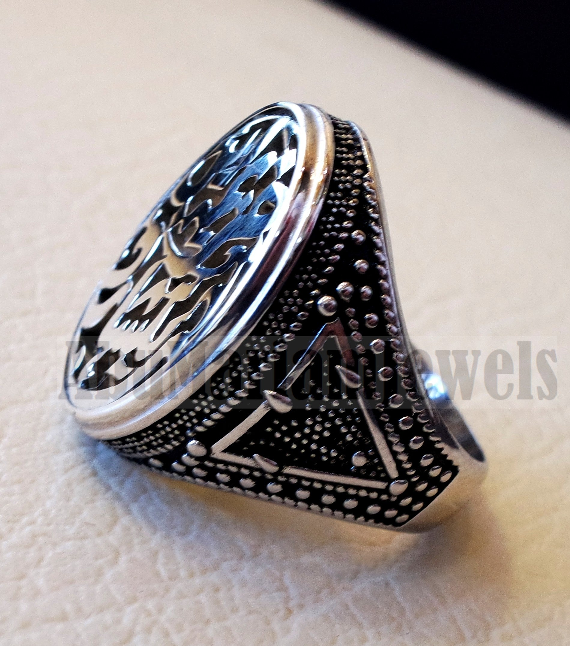 Customized Arabic calligraphy names handmade ring personalized antique jewelry style sterling silver 925 any size TSN1008 خاتم اسم تفصيل
