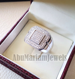 Micro pave cubic zirconia white stones diamond style sterling silver 925 heavy stunning men ring all sizes mic005