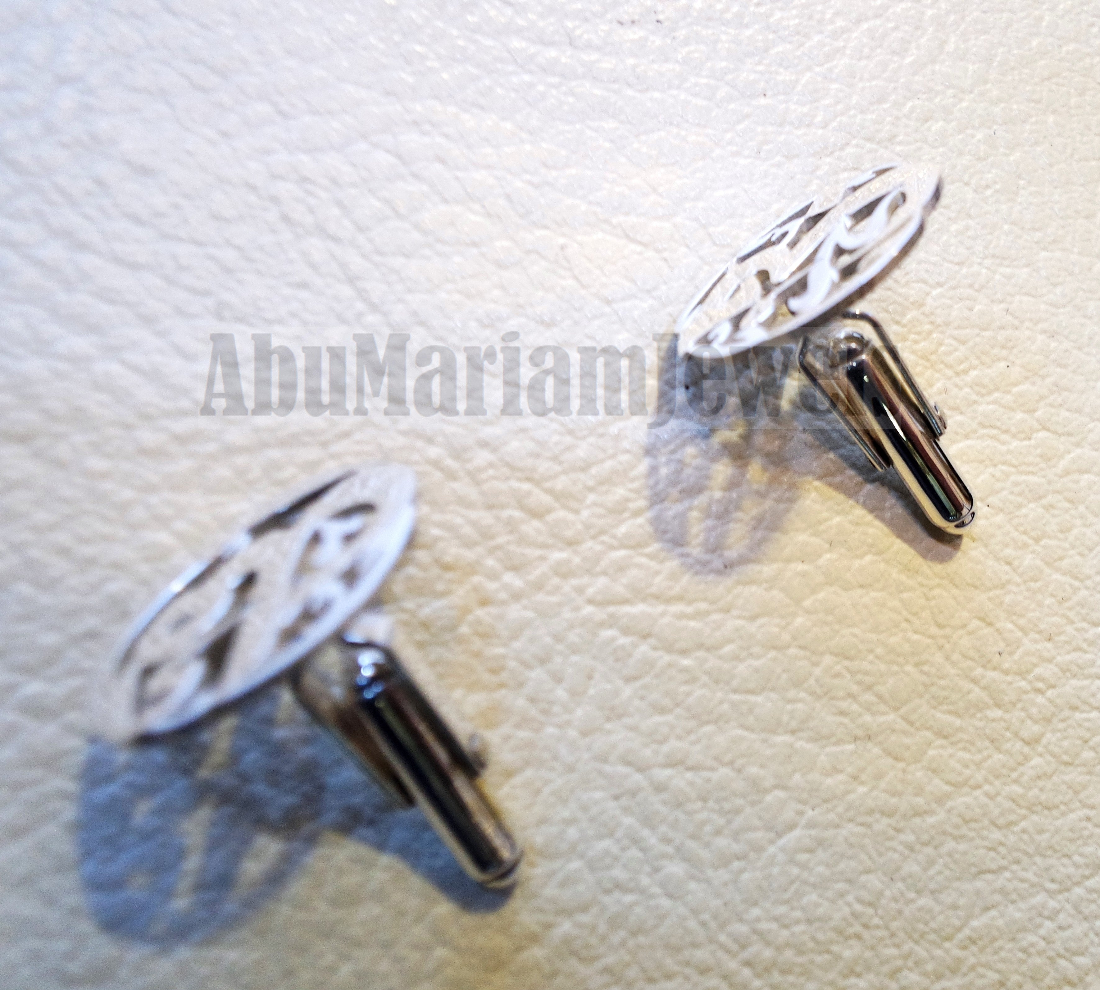 cufflinks , cuflinks 2 words on piece calligraphy arabic customized any name made to order sterling silver 925 heavy men jewelry عربي CF14