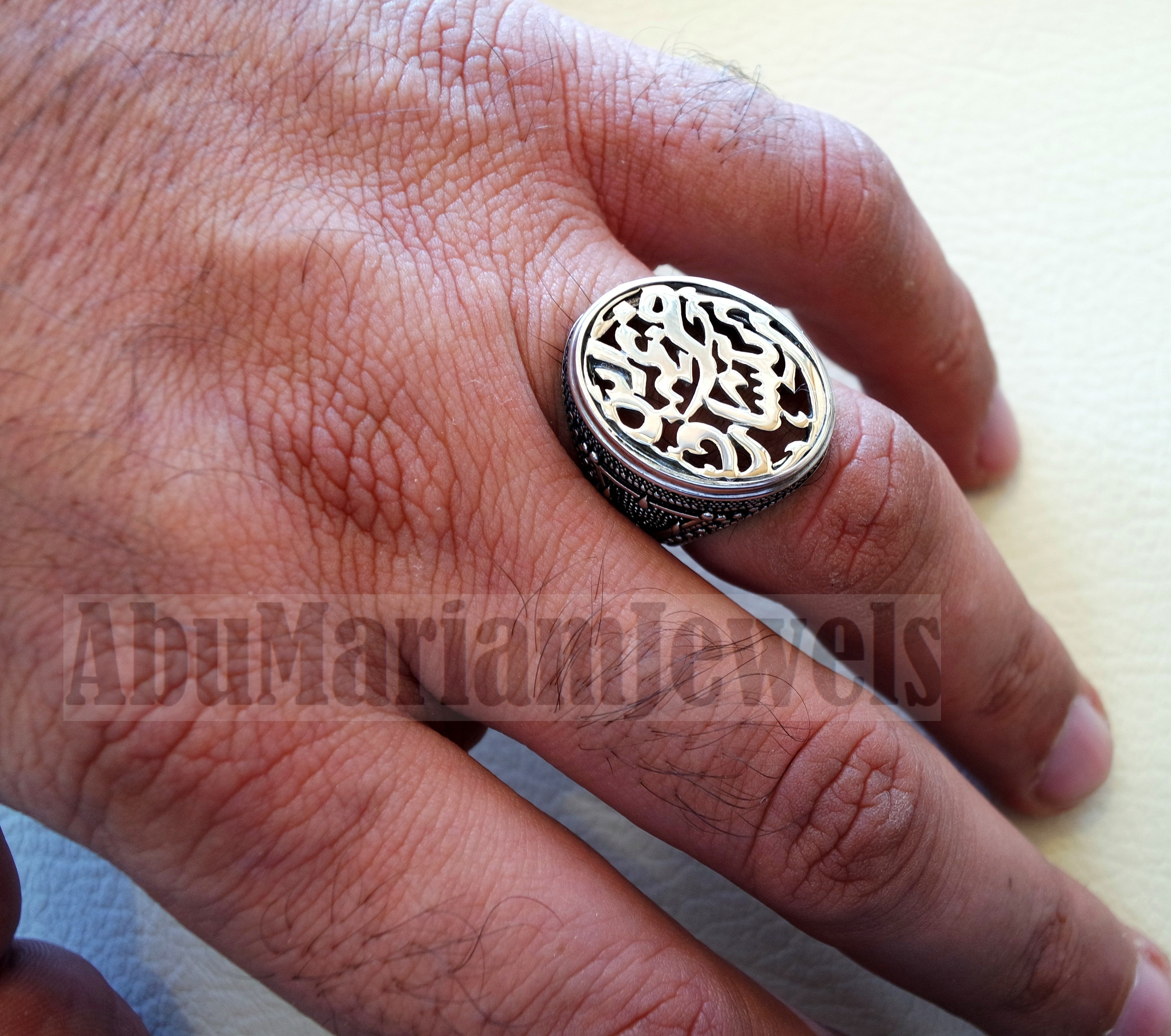 Customized Arabic calligraphy names handmade ring personalized antique jewelry style sterling silver 925 any size TSN1015 خاتم اسم تفصيل