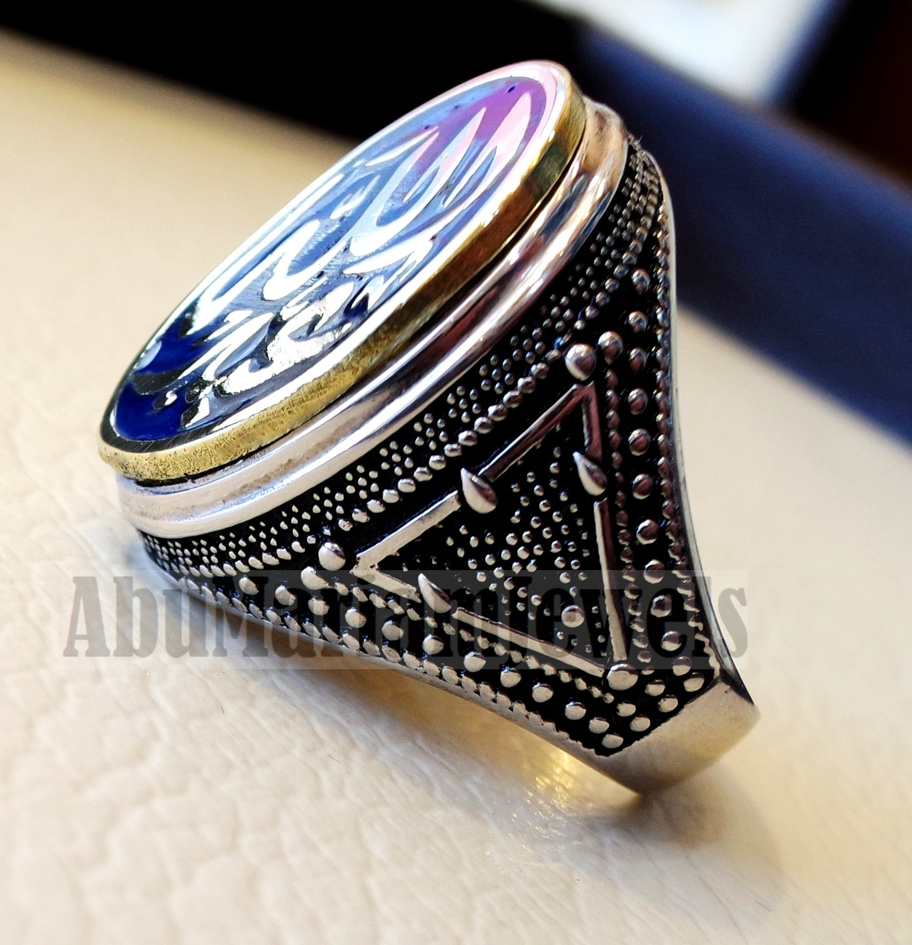 Customized Arabic calligraphy names ring personalized sterling silver 925 and bronze with dark blue enamel TSE1003 خاتم اسم تفصيل