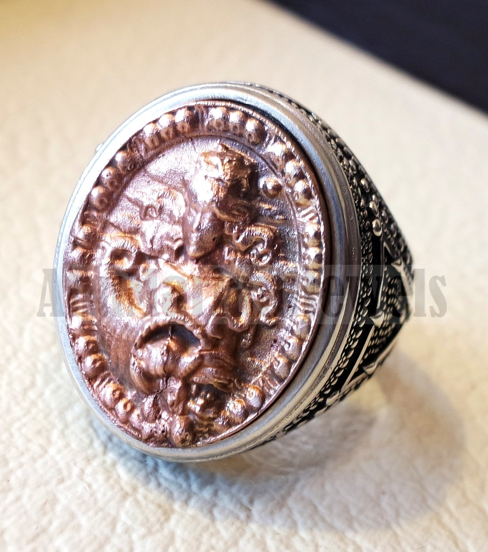 Horoscopes zodiac sign Virgo sterling silver 925 and antique bronze huge men ring all sizes men jewelry gift that bring luck fast shipping