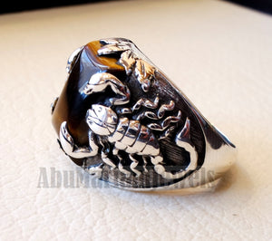 huge scorpion sterling silver 925 huge ring any size rectangular natural tiger eye middle eastern vintage handmade jewelry fast shipping