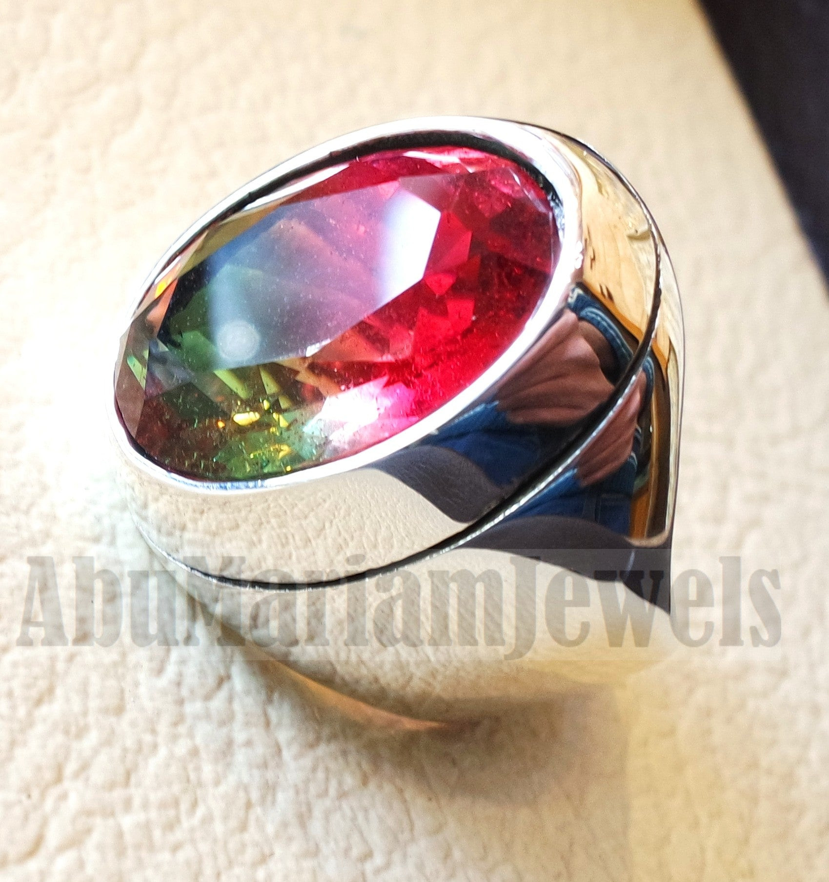Stunning bi color lab created tourmaline colorful stone sterling silver heavy man ring any size green and pinkish red high quality gem